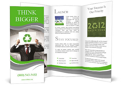image of man holding board with recycling sign brochure template