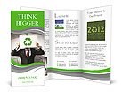 Image of man holding board with recycling sign Brochure Templates