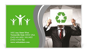 Image of man holding board with recycling sign Business Card Template
