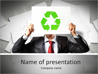 Image of man holding board with recycling sign PowerPoint Template