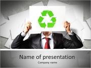 Image of man holding board with recycling sign PowerPoint Templates