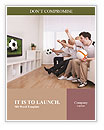 Jubilant family watching television as they cheer on their home side in a sporting competition Word Template