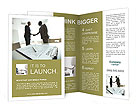 Image of business contract on background of two employees handshaking Brochure Templates