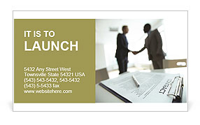 Image of business contract on background of two employees handshaking Business Card Template
