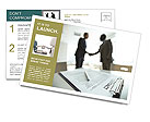 Image of business contract on background of two employees handshaking Postcard Template