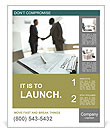 Image of business contract on background of two employees handshaking Poster Template