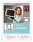 Happy child with tablet computer. Kid showing Flyer Template
