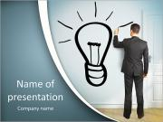 Businessman drawing lamp on wall PowerPoint Templates