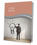 Businessman drawing lamp on wall Presentation Folder