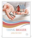 Real estate agent with house model and keys Poster Template