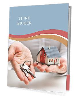 real estate agent with house model and keys presentation folder, Presentation templates