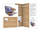 E-commerce. Shopping cart and credit cards on laptop. 3d Brochure Templates