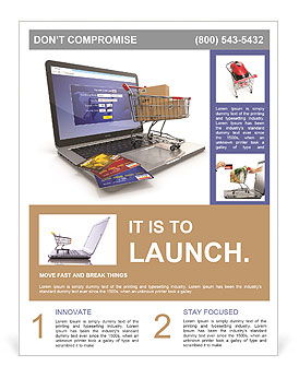 E-commerce. Shopping cart and credit cards on laptop. 3d Flyer ...