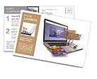 E-commerce. Shopping cart and credit cards on laptop. 3d Postcard Template