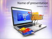 E-commerce. Shopping cart and credit cards on laptop. 3d PowerPoint Templates