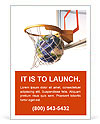 Planet earth falling into the basketball basket by a perfect shot. 3 D digital rendering, On white b Ad Template