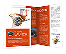 Planet earth falling into the basketball basket by a perfect shot. 3 D digital rendering, On white b Brochure Templates