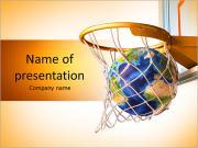 Планета Земля попадания в корзину баскетбольной совершенным выстрела. 3 D цифровой визуализации, на белом б Шаблоны презентаций PowerPoint