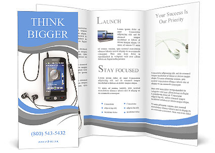 Mobile Phone With Headphones On White Background D Brochure - 3d brochure template