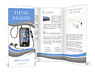 Mobile phone with headphones on white background. 3d Brochure Templates
