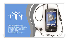 mobile phone with headphones on white background 3d business card
