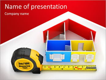 Measure tape and abstract three-dimensional house. 3d PowerPoint Template