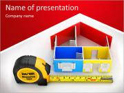 Measure tape and abstract three-dimensional house. 3d PowerPoint Templates
