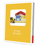 Measure tape and abstract three-dimensional house. 3d Presentation Folder