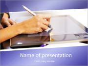 Closeup of female dressmaker sketching and drawing dresses with graphic tablet. Horizontal shape, si PowerPoint Templates