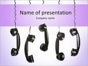 Rotary telephone handsets hanging in the air isolated on white PowerPoint Templates