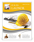 Isolated hard hat with blueprints and rulers on white Flyer Template
