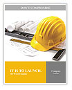 Isolated hard hat with blueprints and rulers on white Word Templates