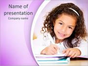 Cute little girl studying at the library and smiling PowerPoint Templates