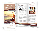 Man running on the beach at sunset Brochure Templates