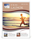 Man running on the beach at sunset Flyer Templates