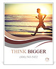 Man running on the beach at sunset Poster Template
