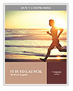 Man running on the beach at sunset Word Templates