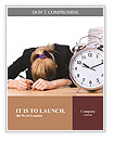 Woman businesswoman with giant alarm clock Word Templates