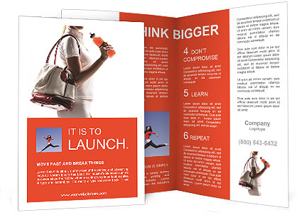 Athletic Woman With A Sports Bag And Sports Drink Brochure Template
