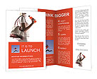 Athletic woman with a sports bag and sports drink Brochure Templates
