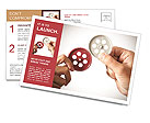 Partnership concept with gear and businessmsn Postcard Template