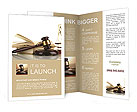 Golden scales of justice, gavel and books isolated on white Brochure Templates