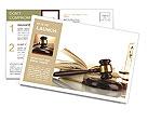 Golden scales of justice, gavel and books isolated on white Postcard Template