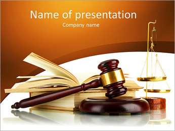 Golden scales of justice, gavel and books isolated on white PowerPoint Template