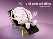 Brain that rests on a chaise longue, the concept of relaxing the mind PowerPoint Templates