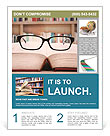 Closeup of reading glasses on the book. shot in the library Flyer Template