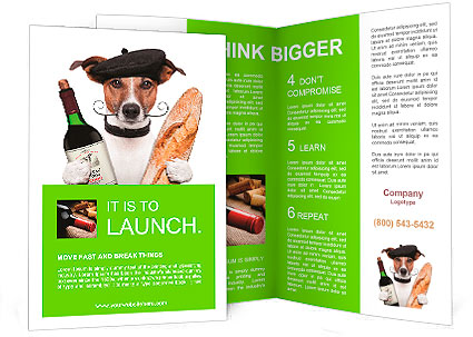 French dog wine baguette beret brochure template design for French brochure template