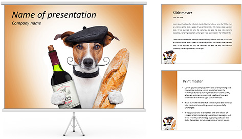french dog wine baguette beret powerpoint template