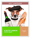 French dog wine baguette beret Word Templates