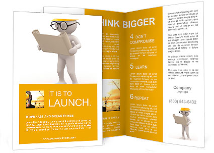 D People Men Person With Project Engineer Brochure Template - 3d brochure template